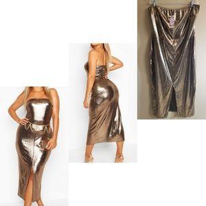 🆕️ Boohoo Bronze Metallic Midaxi Dress